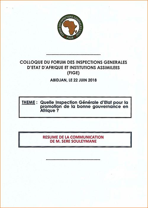 RÉSUMÉ DE LA COMMUNICATION DE M. SERE SOULEYMANE