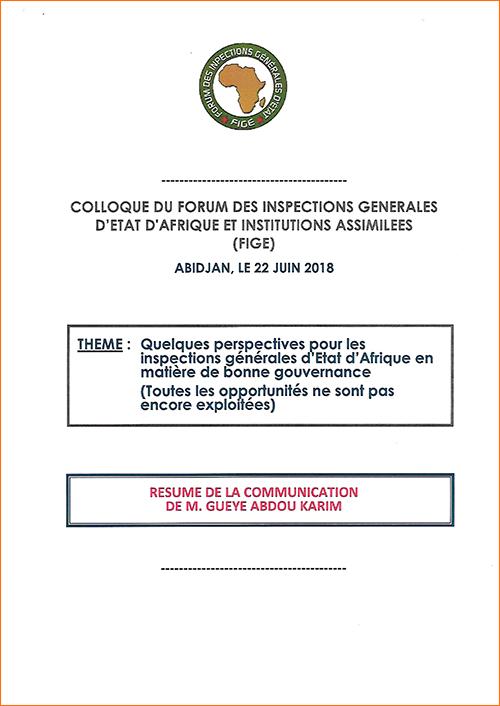 RÉSUMÉ DE LA COMMUNICATION DE M. GUEYE ABDOU KARIM