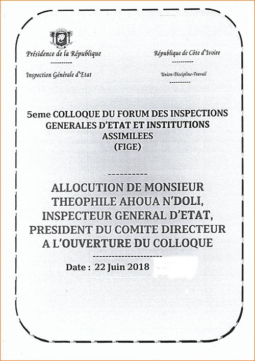 Allocution de monsieur Théophile Ahoua N