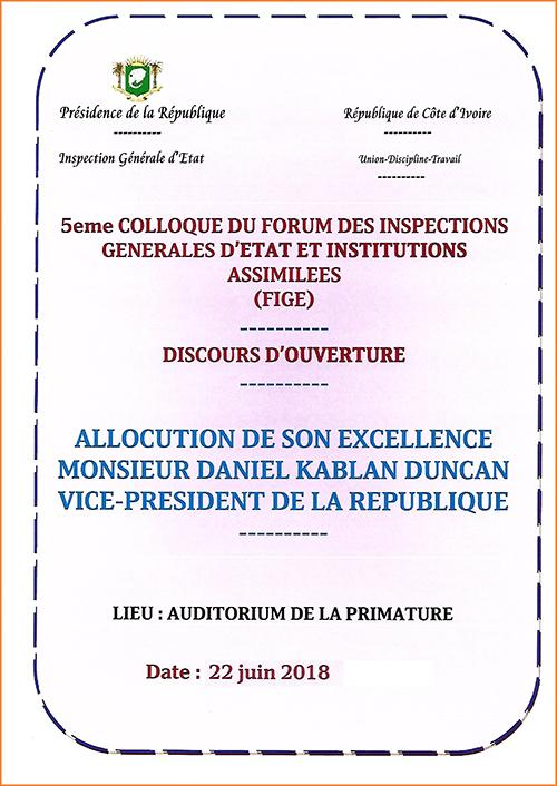 DISCOURS D'OUVERTURE DE SEM DANIEL KABLAN DUNCAN / 5eme COLLOQUE DU FORUM DES INSPECTIONS GENERALES D